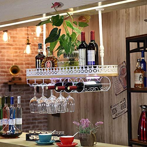 Estantes para Vino de Techo multifunción para Vino | Soporte para Copa de Vino Colgante | Porta Botella de Vino Vintage | Porta Vino rústico montado en la Pared | Soporte para Copas | Altura ajustab