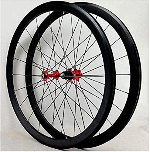 ZSY Wheels Road bike wheelset, 700C double-walled alloy wheels V brake 40mm front wheel rear wheel BMX road bicycle wheels quick release for 7 8 9 10 11 12 speed 1890g / P (Color : B)