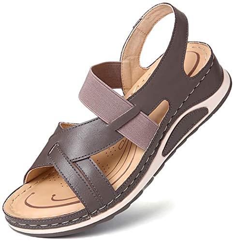Camfosy Sandały damskie płaskie, na platformie, japonki, na lato, plażę, lato, sport, komfortowa podeszwa, płaska wsuwana na szerokie stopy, wygodne buty letnie, jasnoszary - jasnoszary - 41 EU