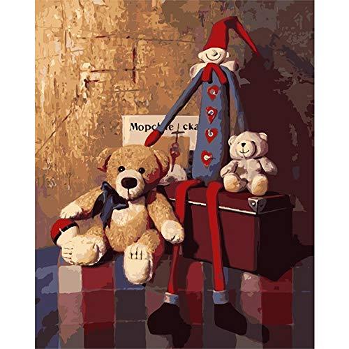 5D diy diamant schilderij kits volledige boor beer en speelgoed marionet sticker borduurpakket strass borduurwerk kristal foto's kunst ambachten voor thuis muur decor-vierkante diamant, 20x30cm