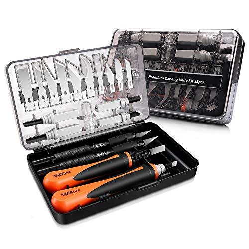 Holz-Schnitzwerkzeug Set, TACKLIFE 18tlg. Schnitzmesser, ideales Holzschnitzerei Messer für Anfänger und Profis, mit ein Koffer, Geeignet für Holz und Leder - CKH01