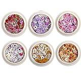 TOSSPER 6box Nail Nail Real Dried Flower Set Mini Natural Real Dry Flowers Applique para Decoración del Arte De Uñas Etiqueta Engomada