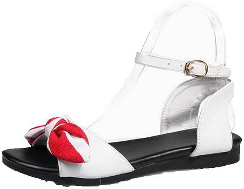 WeenFashion Women's Open-Toe Low-Heels Pu Sandals, CA18LA05062