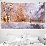 ABAKUHAUS Invierno Tapiz de Pared y Cubrecama Suave, Escena De La Noche Árboles Congelados, Objeto Decorativo Lavable, 230 x 140 cm, White Salmon