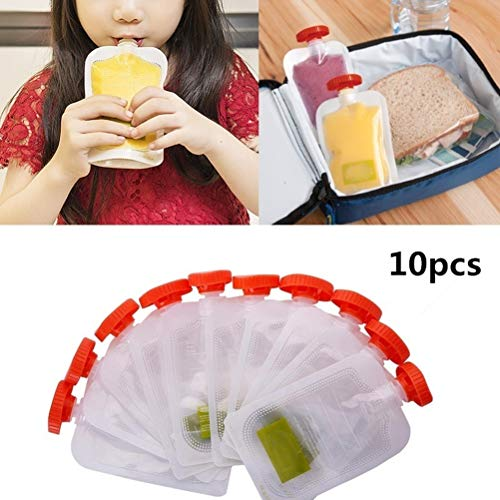 Review Uscyo 10 Pcs Reusable Squeeze Bags, Baby Grocery Bags Squeeze Station Pouches Storage Bags fo...