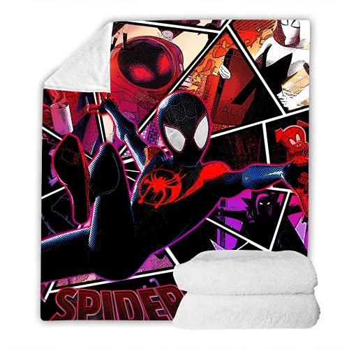 WFQTT Spiderman, coperta in pile Supereroe, coperta per ogni cameretta dei bambini, coperta in pile Spiderman stampa digitale 3D (A4,60 x 50 pollici)