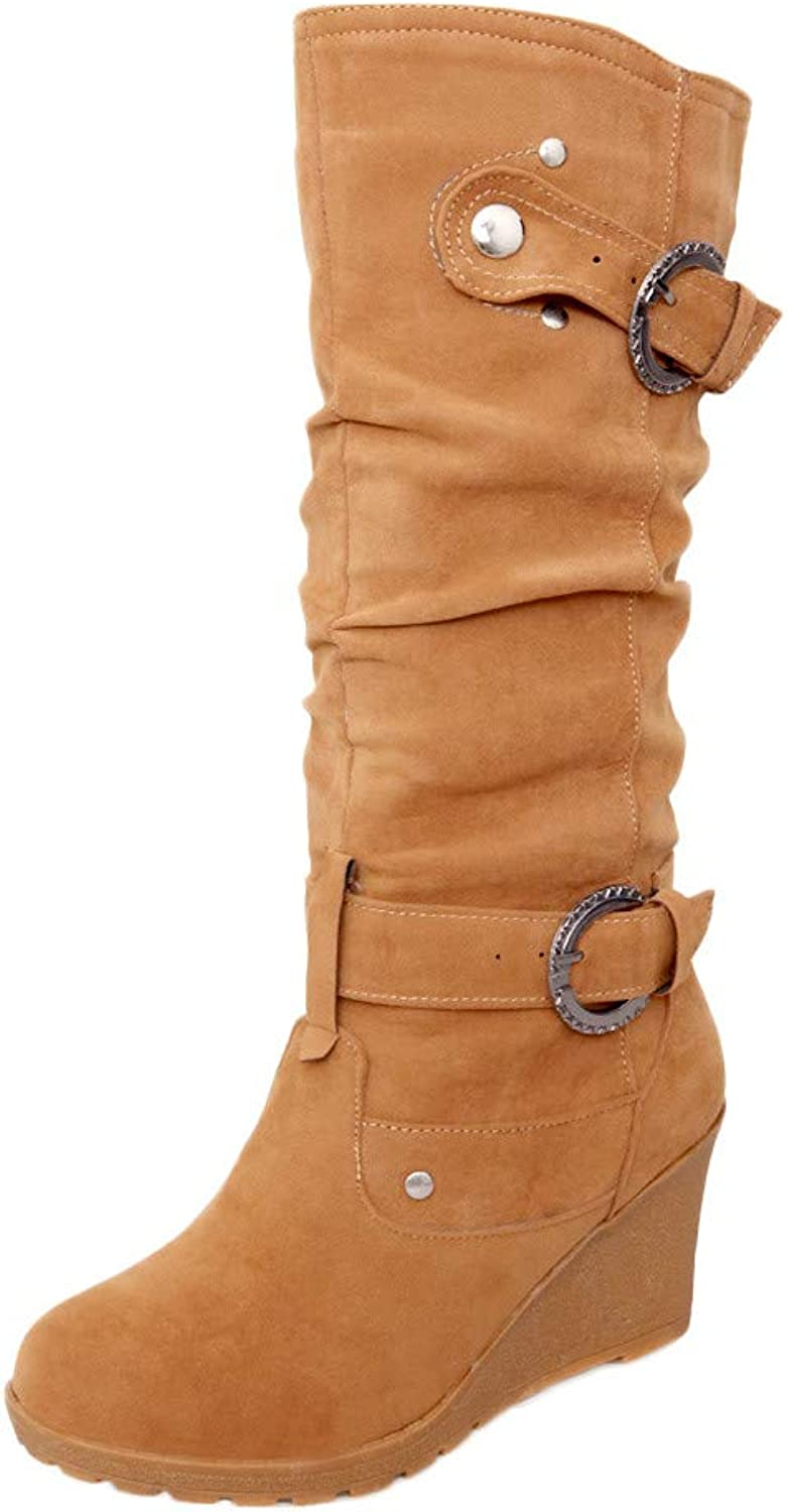 Women Round Toe Thicken Wedges Ladies Long Tube High Boots Women Non-Slip shoes