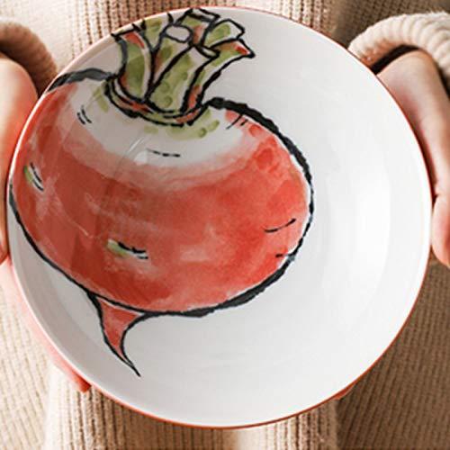Vajilla Japonesa, Plato para el hogar, Plato de Bola de Masa, cerámica Creativa, Plato Hondo de patrón Vegetal(Color:22cm,Size:A)