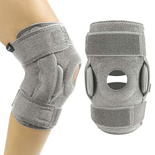 Vive Hinged Knee Brace Open Patella Support Wrap for Women Men Compression for ACL MCL Torn Meniscus Ligament and Tendonitis for Running Athletic Tear and Arthritis Joint Gray