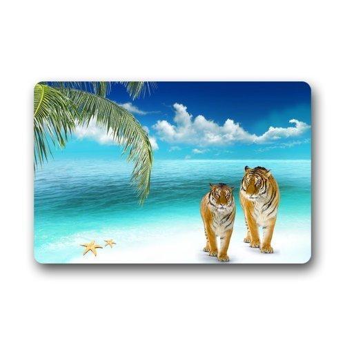 Door Mats Tigers Walking On Beach Doormats Top Fabric & Rubber Indoor Outdoor s Area Rugs Entryway Mats 23.6in by 15.7 in
