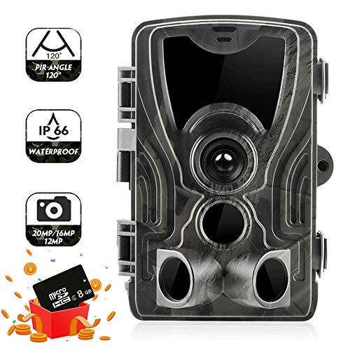 SUNTEKCAM Wildkamera 20MP 1080P, mit Bewegungsmelder Nachtsicht Wildlife Jagdkamera, 36pcs 940 nm IR-LEDs Wildtierkamera mit Nachtsichtbewegung Wasserdicht IP66 mit 8 GB SD Card