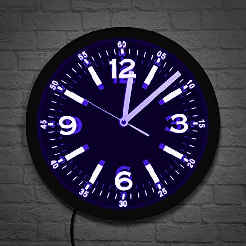 KEC Reloj de Pared Luminoso de neón LED de diseño Moderno números arábigos Grandes silencioso sin tictac decoración del hogar Reloj de Pared Horologe Que Brilla en la Oscuridad