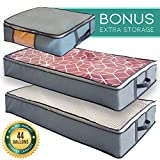 Undercover Cubes 2 Under Bed Storage Containers + 1 Organizer Bin – Underbed Storage bags with Clear Windows & Reinforced Handles by Mill & Mint, Gray