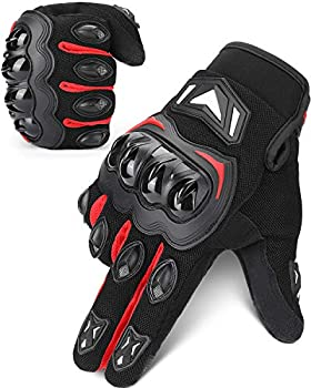 kemimoto Motorcycle Gloves Summer Motorcycle Riding Gloves for Men and Women Touchscreen Breathable Motorbike Gloves for Motorcross Racing BMX MTB Cycling with Hard Knuckle  Red Medium