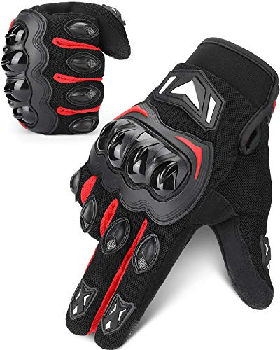 kemimoto Motorcycle Gloves, Summer Motorcycle Riding Gloves for Men and Women, Touchscreen Breathable Motorbike Gloves for Motorcross Racing BMX MTB Cycling with Hard Knuckle (Red, Large)