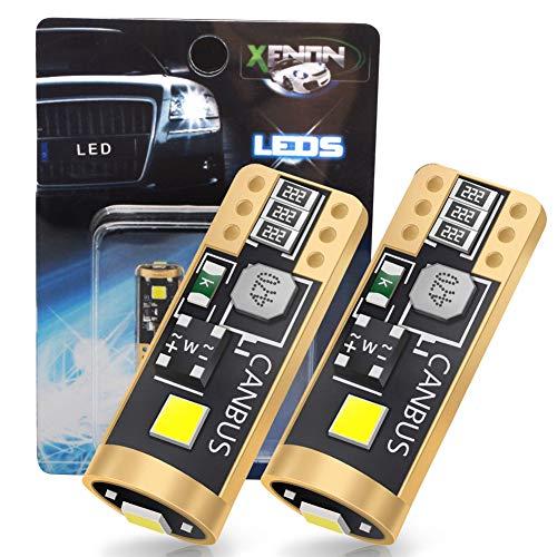 LncBoc Bombillas T10 W5W CANBUS Coche LED 194 168 2825 Bombillas 12V/24V 3SMD-3030 6000K Para Coches Luces De La Matrícula Posición Laterales Iluminación Interior Luces Laterales 2 Paquetes