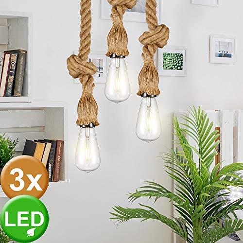 3er Set Hanf Seil Hänge Lampen Decken Beleuchtungen Pendel Lampen im Set inklusive LED Leuchtmittel
