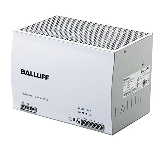 Balluff BAE0003, Power Supply, Single-Phase, Switched, 115.230 VAC, 24 VDC, 20A, DIN-Rail, IP20