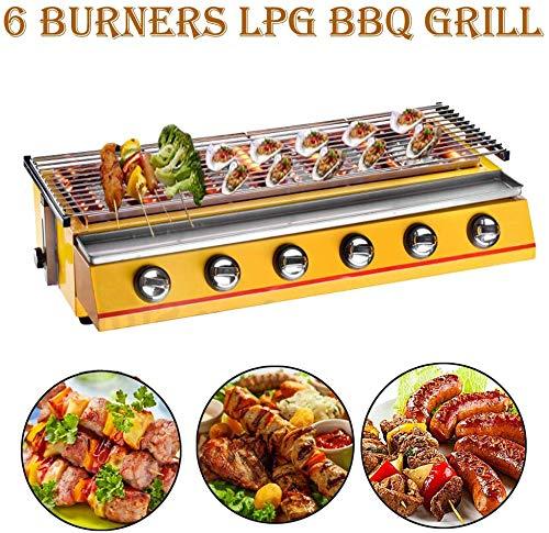 6 fuochi per barbecue a gas per uso professionale Griglie a gas a gas GPL Griglia per barbecue Strumenti in acciaio inossidabile per barbecue all'aperto Griglia grande (schermo di vetro, corpo giallo)