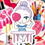 QIANGWEI 50 Piezas De Maquillaje Femenino Adhesivos Rosas Set Decal Sticker Laptop Maleta Libro Impermeable