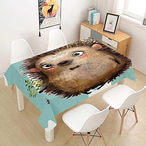 Oduo Tablecloth Waterproof Polyester Rectangle, Animal Print Home Decoration Stain Resistant Dust-proof Wipe Clean Wrinkle Resistant for Parties Dining Tables (hedgehog,140x140cm)
