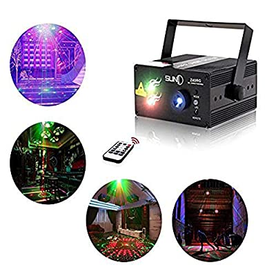 Laser Lights Led Projector,40 Patterns RG Laser DJ Stage Lighting,3 Sources Apertures Lens Red and Green Show With Blue Auto Sound Activated, Best For Disco/Wedding/Birthday/Family Party/Clubs etc by SUNY