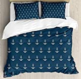 <span class='highlight'><span class='highlight'>JamirtyRoy1</span></span> Anchor Duvet Cover Set Single Size, Nautical Pattern with Classic Colors and Anchors Simplistic Design Sailor Ship Print, Decorative 3 Piece Bedding Set with 2 Pillow Shams, Blue White
