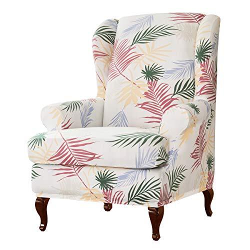 subrtex Ohrensessel Schonbezüge 2 Stück Spandex Stretch Sessel Sofabezüge mit Armlehnen Blätter Druckmuster Stoff Möbel Protector (Weiß)