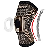 Copper Knee Brace with Patella Gel Pads and Side Stabilizers - Professional Copper Knee Sleeve for Arthritis Pain and Support,Running,Sports,Injury Recovery-[Single] (TAN, X-Large)