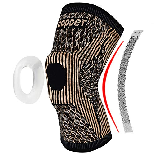 Copper Knee Brace with Patella Gel Pads and Side Stabilizers - Professional Copper Knee Sleeve for Arthritis Pain and Support,Running,Sports,Injury Recovery-[Single] (TAN, Large)