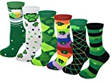 6 Pairs Novelty Design Crew Socks, Christmas Holidays Crazy Fun Colorful Fancy Design (Saint Patrick Day)