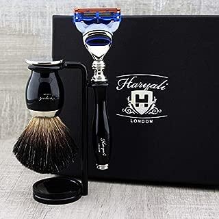 Haryali London 3 Pc Mens Shaving Kit 5 Edge Razor With Black Badger Hair Shaving Brush and Stand Perfect Set For Men