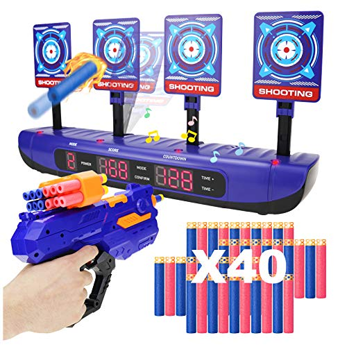 IDREAMO Electric Scoring Auto Reset Shooting Digital Target with Foam Dart Toy Shooting Blaster & 40Pcs Refill Darts,Fun Toys for 5,6,7,8,9,10+ Years Old Kids, Boys & Girls