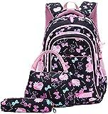 BLO - Mochila escolar para niña, diseño de gato, color negro