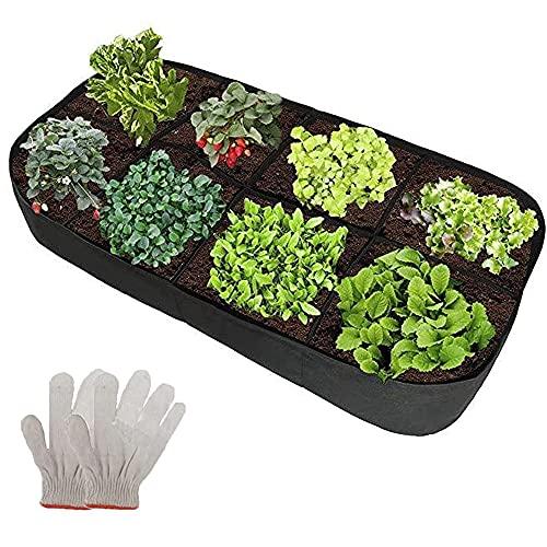 Pflanztasche Stoff Hochbeet Pflanzsack 180x90x30cm 8 Geteilte Gitter mit Handschuhe Pflanzbeutel Rechteckig Pflanze Wachsende Tasche mit Griffe für Kartoffeln, Tomaten und Erdbeeren