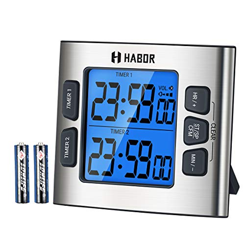 Habor Digital Dual Kitchen Timer with Calendar Clock for Cooking, Count-up & Countdown, 4-Level Adjustable Alarm Volume, Larger Backlit Display, Stronger Magnets Study Exer, Silver