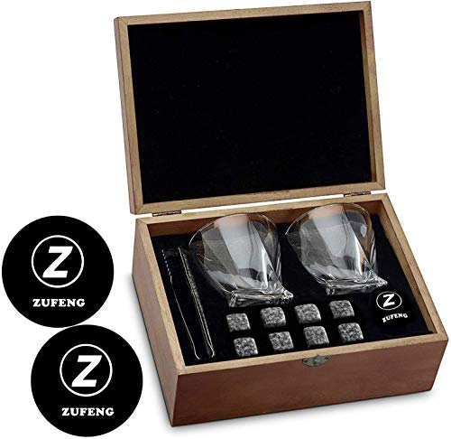Whiskey Stones and Whiskey Glass Gift Boxed Set - 8 Granite Chilling Whisky Rocks + 2 Large 11 oz Crystal Glasses in Wooden Box - Great Gift for Dad's Birthday or Anytime For Dad/Father/husband bro