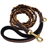BlazingPaws Vibrania 6 ft Super Soft Distressed Leather Dog Leash, Handmade Braided in 3 Brown Shades with Suede Leather Padded Handle (6 Ft L x 3/4' W Braided, Brown Mix)