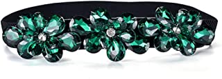 SGJFZD Ladies Fashionable Rhinestone Inlaid Elastic Stretch Ladies Belt Fashion Casual Black Belt Decorative Belt (Color : Green, Size : 60-80cm)