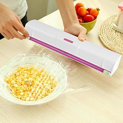 QSJTD Alufolienhalter Box zum Schneiden von Folien Frischhaltefolie Cutter Küchenfolie Organizer für alle Größen.Blau Größen Plastikfolie Dispenser