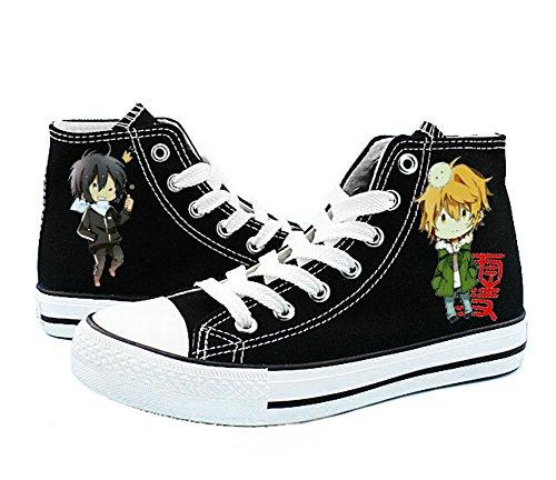 Telacos Noragami YATO Yukine Schuhe Cosplay Canvas Schuhe Sneakers Schwarz/Weiß, - Schwarz 3 - Größe: 38/40 EU