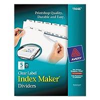 インデックスメーカークリアラベルディバイダー、5-tab、文字、ホワイト、25セット、として販売25セット