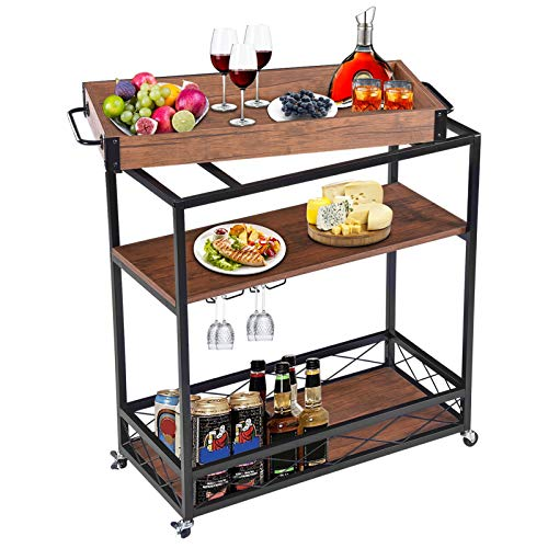 3-Tier Kitchen Serving Trolley with Removable Tray, Serving Cart Trolley...