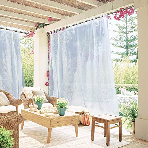 NICETOWN Extra Long Outdoor Drape - Tab Top Indoor Outdoor Waterproof Sheer Curtain Panel with Rope Tieback for Pergola, Front Porch (1 Piece, 100 x 96 Inch in White)