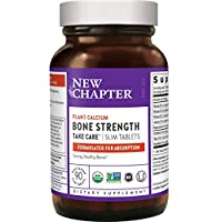 New Chapter Bone Strength Calcium Supplement, Clinical Strength Plant Calcium with Vitamin D3 + Vitamin K2 + Magnesium - 90 ct Slim Tabs 海外直送品