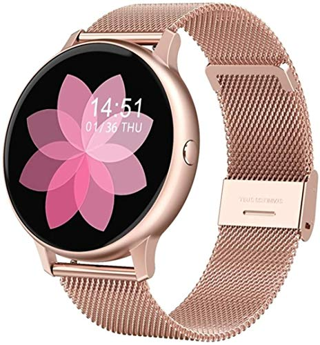Reloj Inteligente Pantalla HD Oxígeno Monitor de Ritmo Cardíaco Pulsera Control de Música Multi-Deporte Modos Reloj de Pulsera-Rosa
