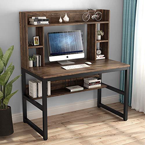 Computer Desk with Hutch, 47 Inch Modern Writing Desk with Storage Shelves, Office Desk Study Table Gaming Desk Workstation for Home Office, Vintage + Black Legs