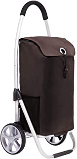 Asdfnfa Shopping Cart Aluminum Climbing Stroller Portable Folding Luggage Storage Car asdfnfa (Color : Brown)