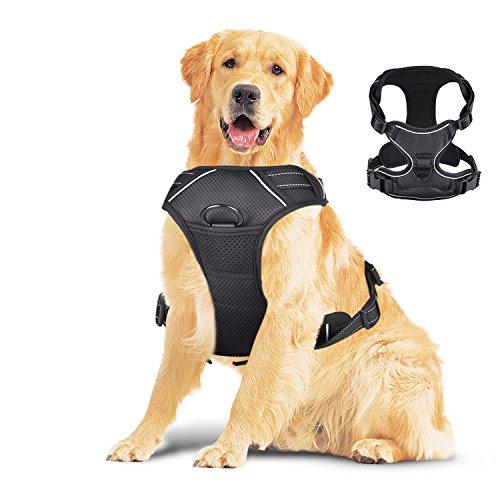 Creaker Large Dog Harness, No Pull Adjustable Pet Reflective Oxford Material Soft Vest Harness for Large Dogs