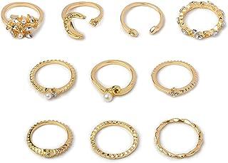 JAWSEU 10 st boho knogringar uppsättning, justerbara öppna månringar kvinnor ringar set vintage ringar set för flickor fes...